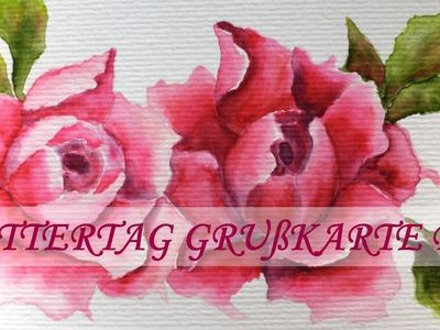 Muttertag Grußkarte Pfingstrosen malen DIY