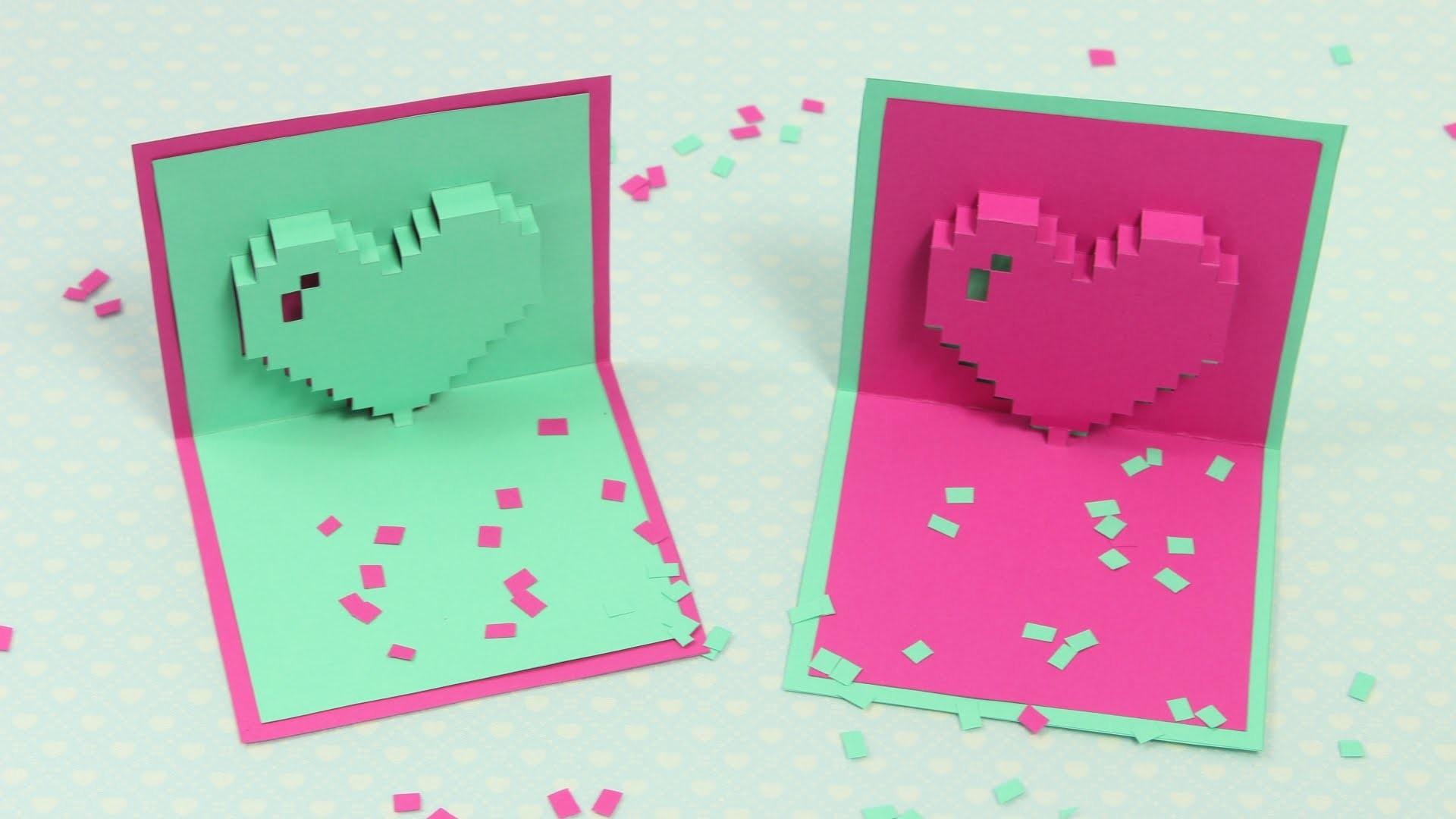 pixel herz pop up karte zum muttertag diy muttertagskarte. Black Bedroom Furniture Sets. Home Design Ideas
