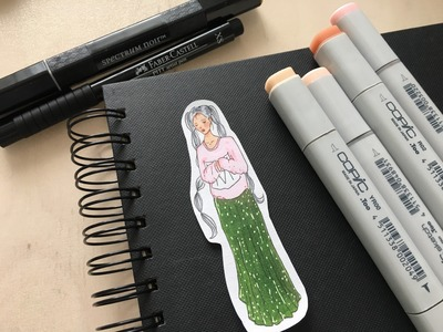 DIY Sticker | Tutorial Mädchen malen | girl drawing using topic markers | sarahmaryslifeinpictures