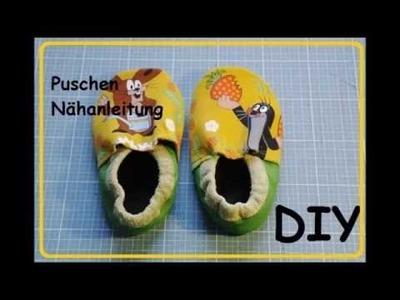 Leder Puschen für  Baby.Kind Nähanleitung DIY Tutorial