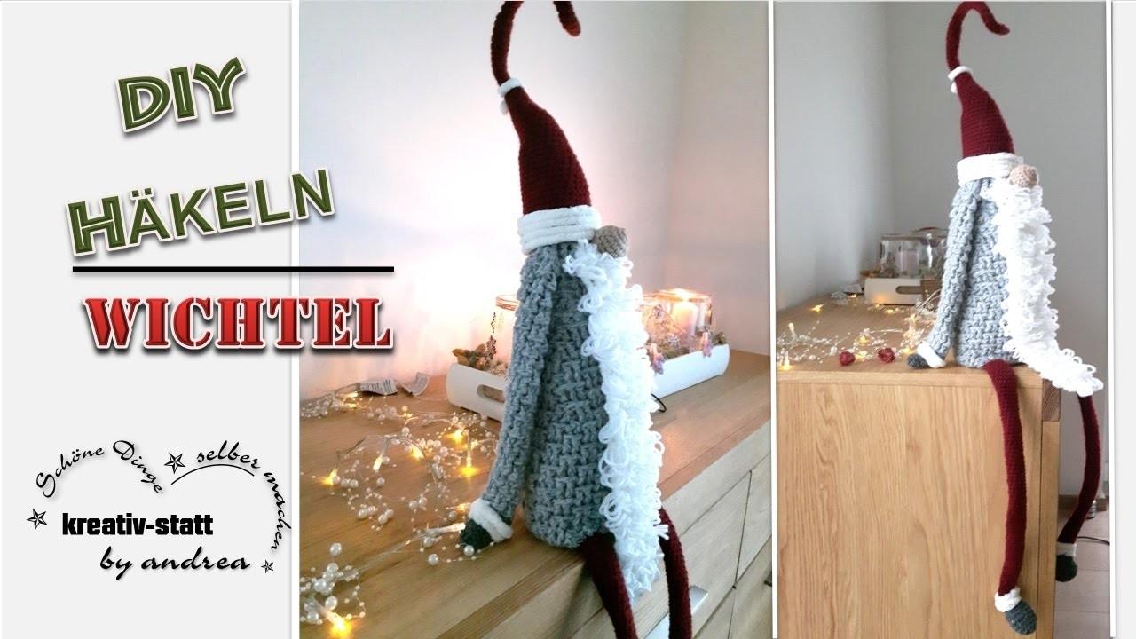 DIY Häkeln - Anleitung Großer Wichtel sitzend. Crochet - Pattern Great Witch sitting