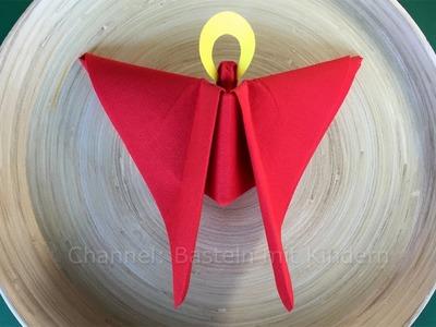 Engel basteln mit Papier-Servietten. Servietten falten Weihnachten: Weihnachtsengel - DIY Deko Ideen