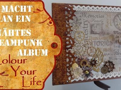 Wie macht man ein genähtes Steampunk Scrapbook Album