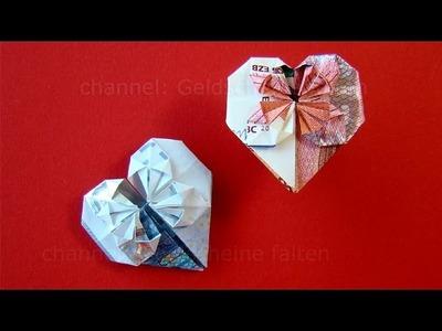 Geldschein falten Herz: Geldgeschenke Hochzeit basteln - Geld falten Herz - DIY Origami Geschenk