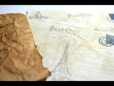 Tutorial,DIY Vintage Postkarte z.b.für ein Junk Journal oder Vintage Mini Album[basteln mit Papier]