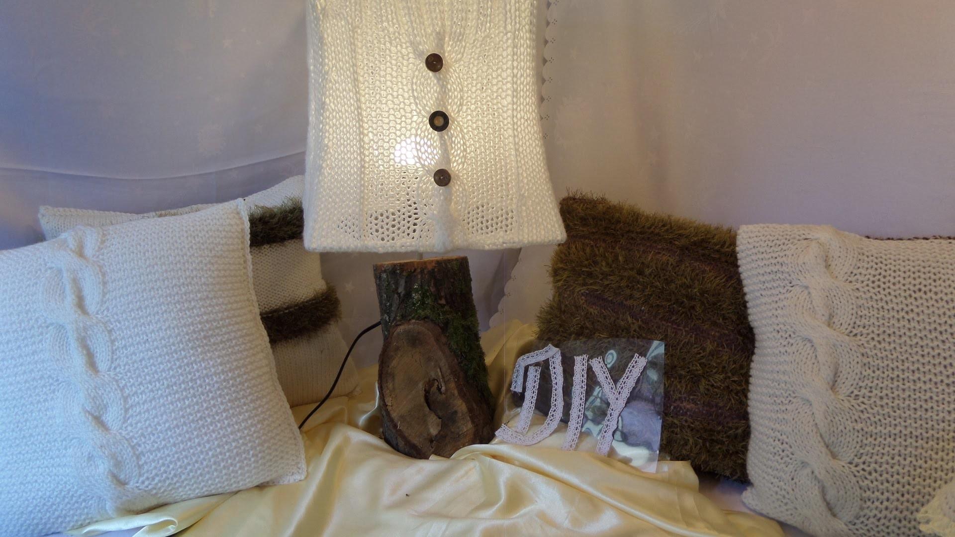 DIY: keka Wir #STRICKEN eine Lampe , LAMPENSCHIRM mit einem coolen Holzfuß; HOME DEKO 1
