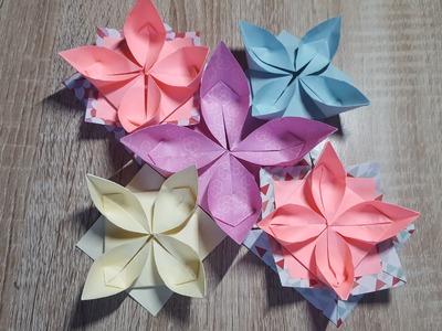 Einfache Origami Blume falten-Wasserlilie.How to make an Origami Water Lily