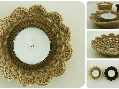 Gehäkelter Teelichthalter * DIY *  Crochet Candle Holder [eng sub]