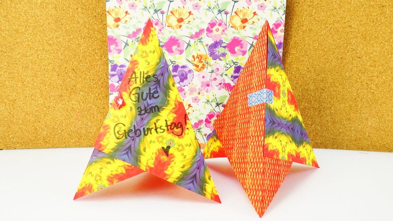 diy 3d geburtstagkarte kreativer geburtstags aufsteller aus origami papier pyramide. Black Bedroom Furniture Sets. Home Design Ideas