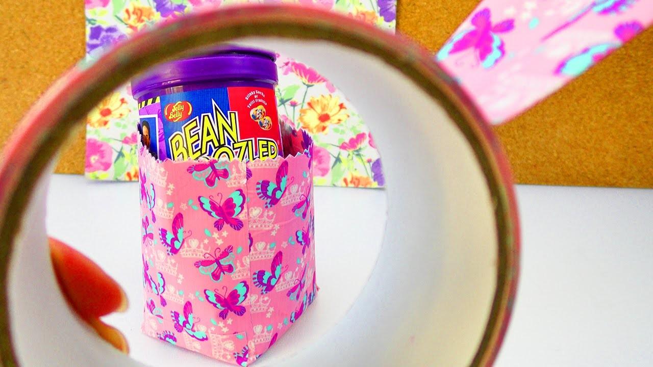Süße DIY Aufbewahrung aus Duck Tape   Einfache Box als Stiftedose & Geschenk   Schreibtisch Deko