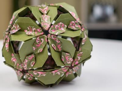 Basteln mit Papier: Origami Blütenkugel falten