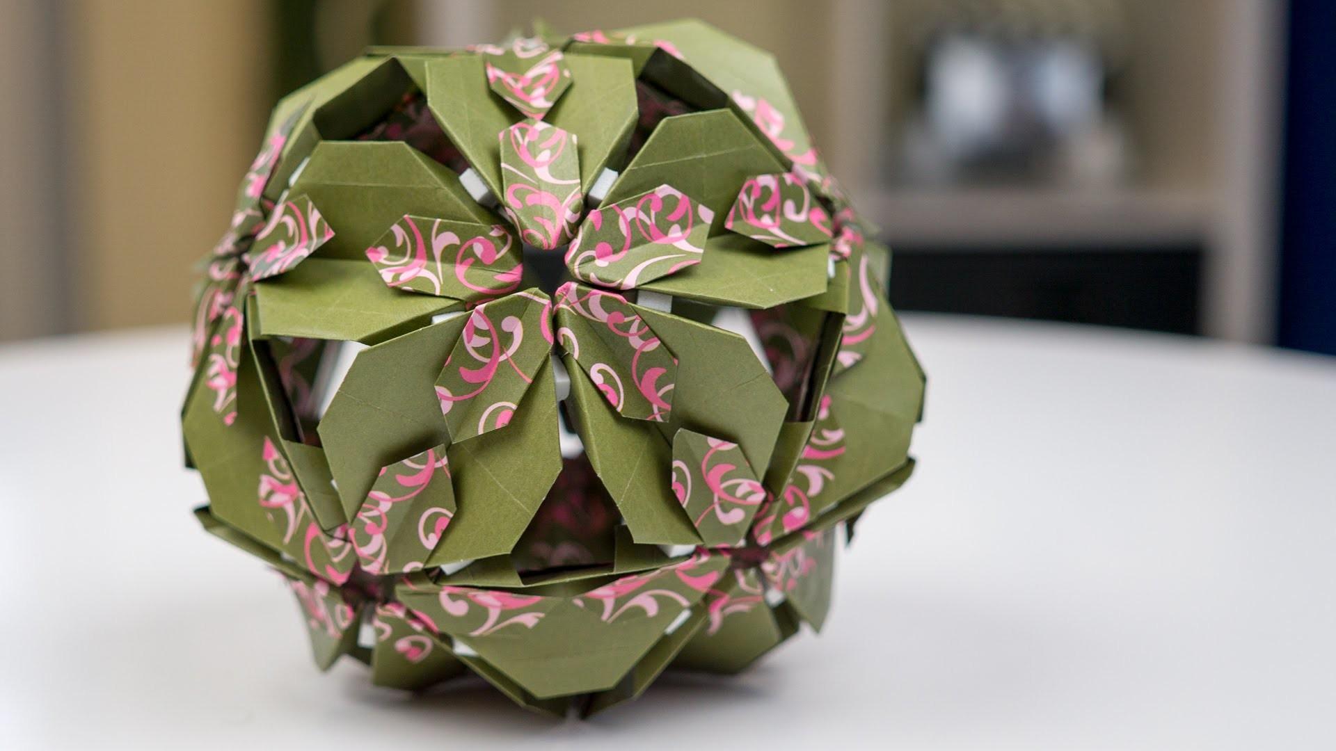 basteln mit papier origami bl tenkugel falten. Black Bedroom Furniture Sets. Home Design Ideas
