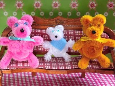 DIY Bären-Familie aus Pfeifenputzern. bear family made of pipe cleaners