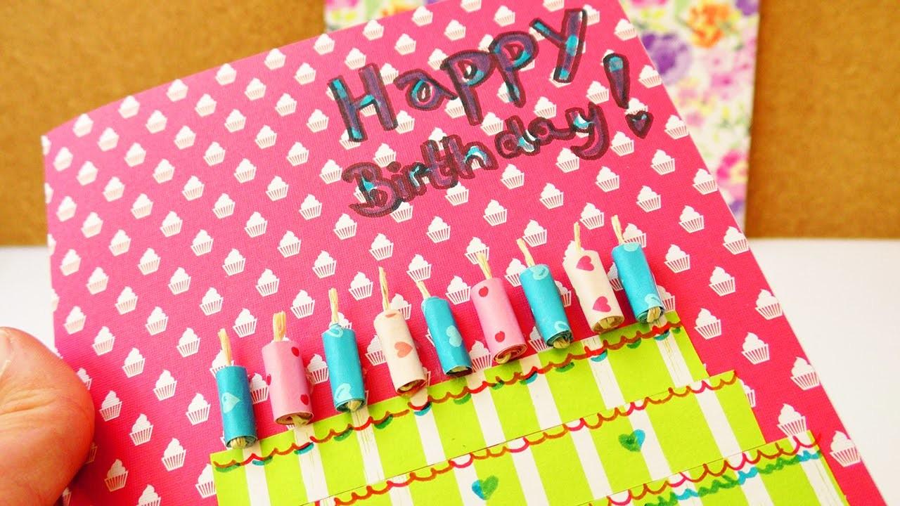 happy birthday diy geburtstagkarte selber machen tolle karte aus buntem papier torte. Black Bedroom Furniture Sets. Home Design Ideas