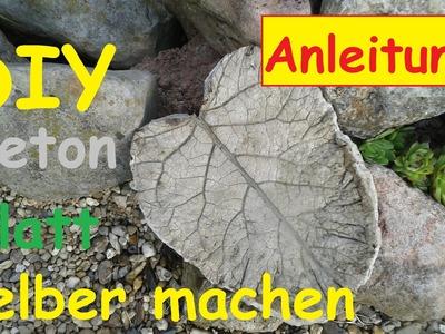 Beton Vogeltränke selber bauen. Betonschale gießen. Blätter aus Zement machen  DIY Rhabarberblatt