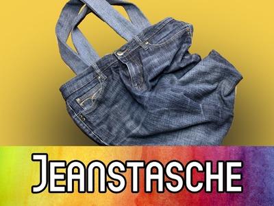 DIY Upcycling Einkaufstasche aus alter Jeans nähen. Jeanstasche nähen | kreativBUNT