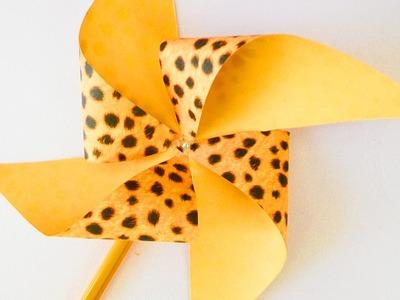 Edles Windrad selber machen   Windmühle mit Perle in Leo Print aus Origami Papier