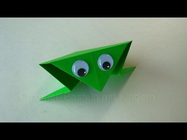 origami frosch falten basteln mit kindern papier falten einfaches origami diy. Black Bedroom Furniture Sets. Home Design Ideas