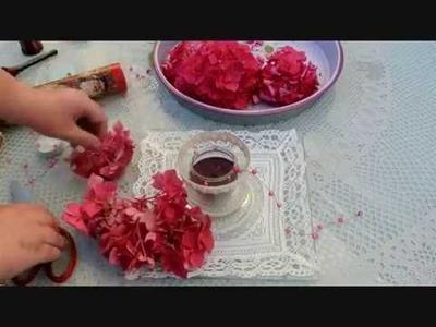 DIY : Einfache  Tischdeko mit Kerze und Hortensien Blüten
