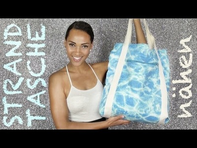 Strandtasche nähen. How to sew a beach bag