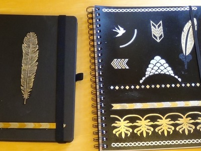 DIY Notizbuch.Collegeblock mit Flashtattoos (Back To School)