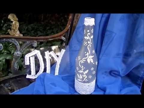 Keka : DIY BASTELIDEE Deko Flasche mit Spitze + Ranke selber machen- UPSYCLING