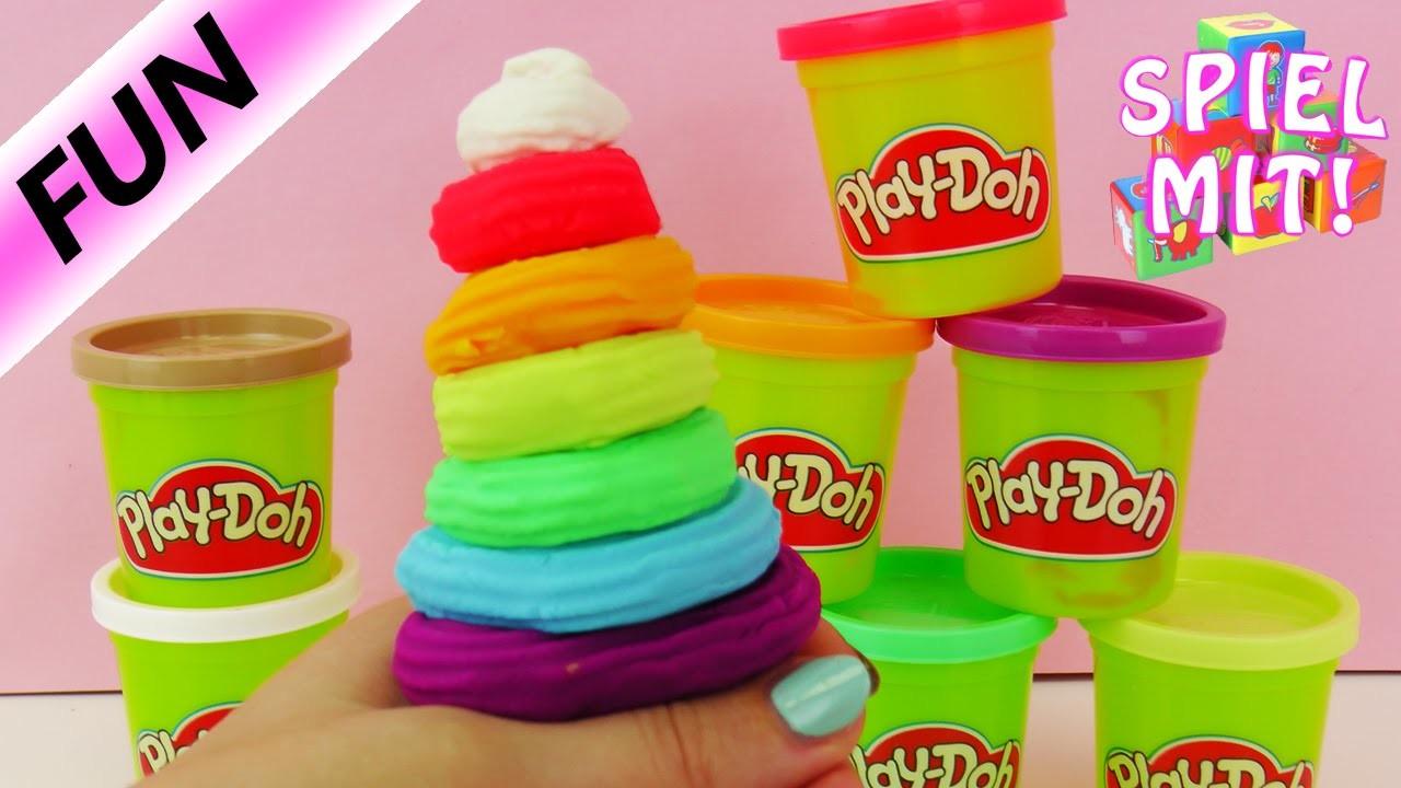 Play-Doh Regenbogen Eis selber machen | bunte Rainbow Ice Cream aus Knete