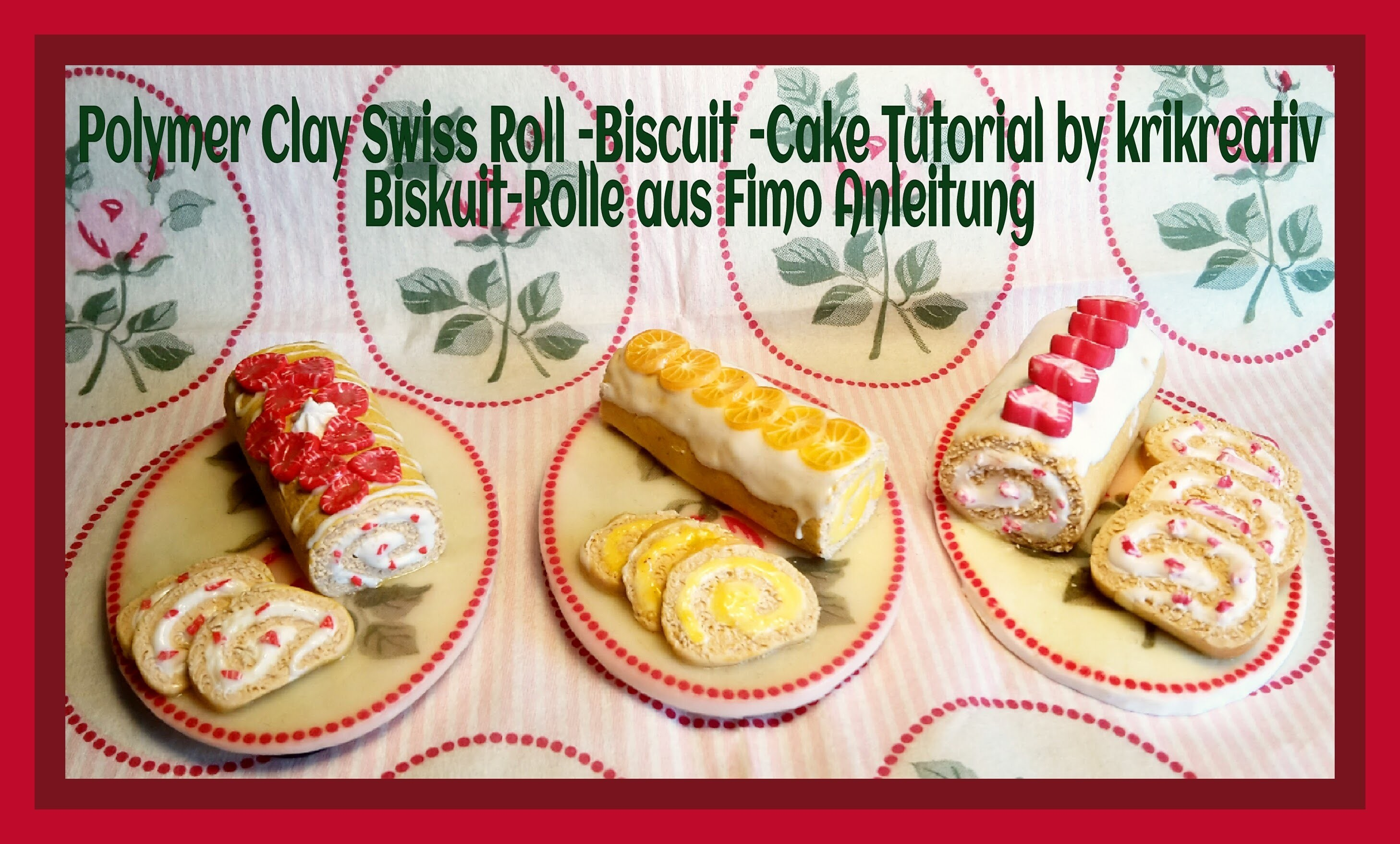Polymer Clay Swiss Roll Tutorial (Biscuit Cake) by krikreativ, Biskuit-Rolle aus Fimo