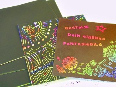 DIY Kratzbilder | Kathi kreiert ihr eigenes Fantasiebild | Kratzbild-Set im Test | Regenbogen