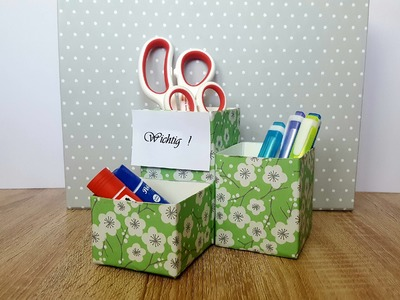 Schreibtisch Organizer mit Memoboard basteln -aus leeren Milchkartons. DIY Desk Organizer