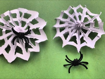 DIY HALLOWEEN CRAFT IDEAS PAPER SPIDERWEB, QICK AND EASY, SPINNENNENNETZ