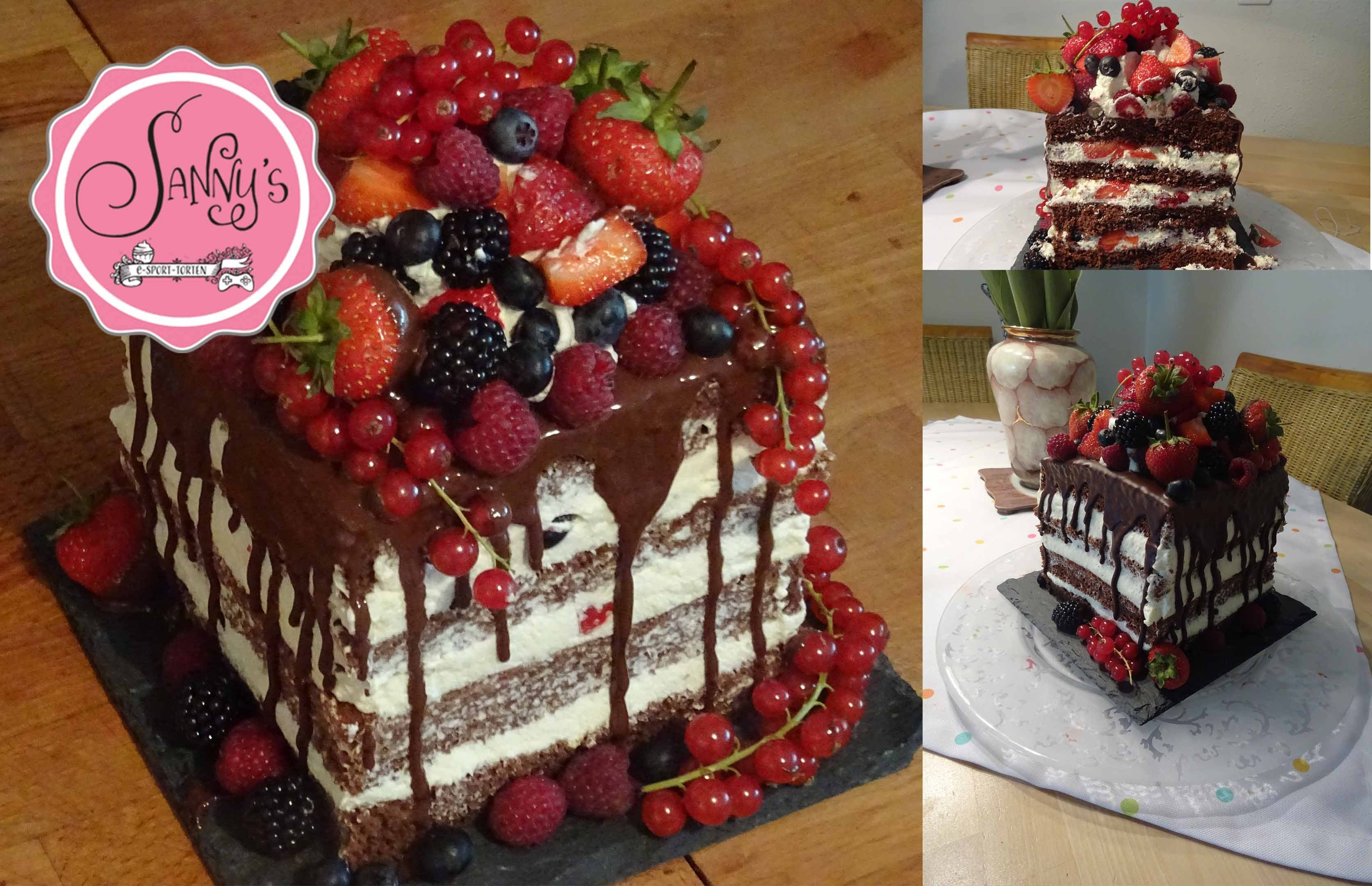 Naked Cake-Geburtstagstorte.birthdaycake. how to make by Sanny´s e-Sport Torten