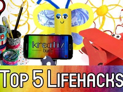 Top 5 Lifehacks mit Klopapierrollen | How to: Upcycling mit Klorollen | kreativbunt