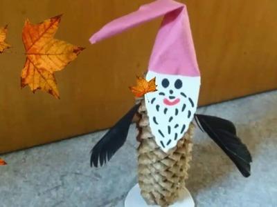 Herbst - Basteln •  Wichtel aus Tannenzapfen • DIY    * Julebuergerfee