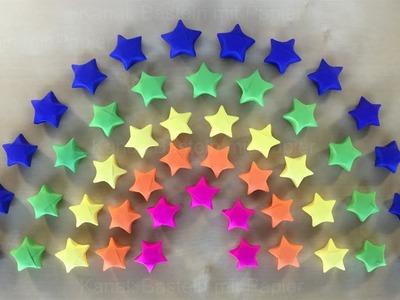 Origami Stern basteln mit Papier - Geschenke selber machen - DIY - Ideen - 3D Regenbogen Deko