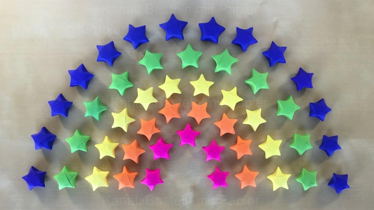 origami stern basteln mit papier geschenke selber machen diy ideen 3d regenbogen deko. Black Bedroom Furniture Sets. Home Design Ideas