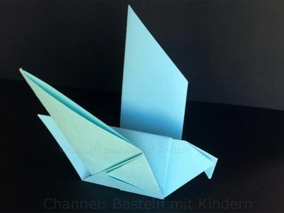 Origami Taube falten mit Papier - Einfachen DIY Vogel basteln mit Kinder - Tiere - Ideen
