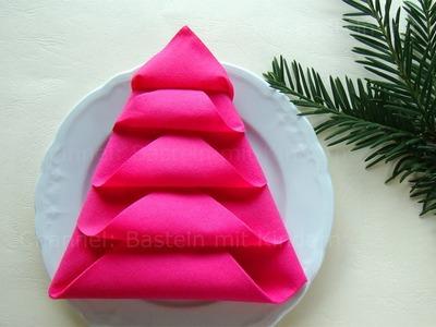 Servietten falten: Tannenbaum - Weihnachtsdeko selber machen - DIY Weihnachten Tischdeko