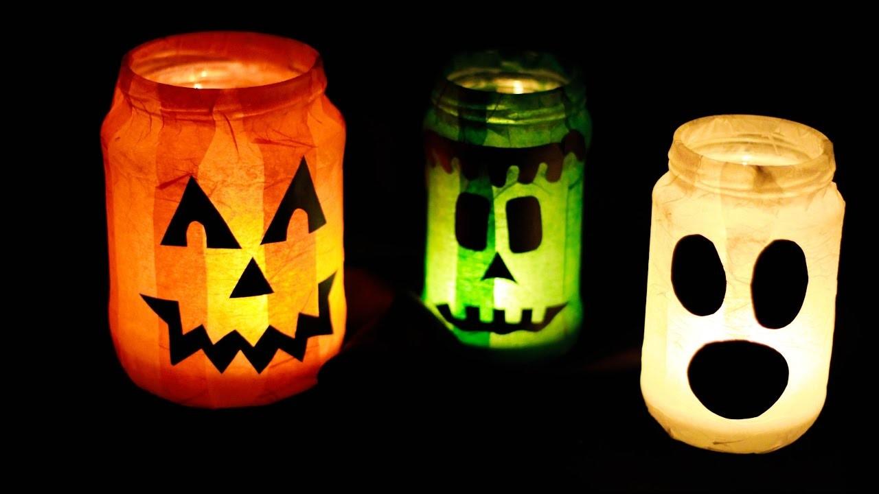 gruselige halloween kerzengl ser kerzen lichter halloween diy tutorial. Black Bedroom Furniture Sets. Home Design Ideas