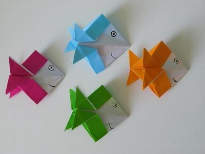 papier basteln mit kindern origami fisch aus papier falten in wenigen minuten anleitung. Black Bedroom Furniture Sets. Home Design Ideas
