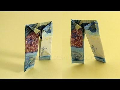 Geldschein falten Hose - Lustige Geldgeschenke basteln: Hochzeit. Origami Kleidung aus Geld