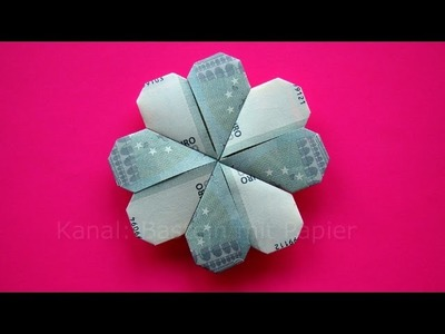 Geldschein falten: Kleeblatt. Blume Geldgeschenke basteln - Hochzeit - Geld falten Blüte