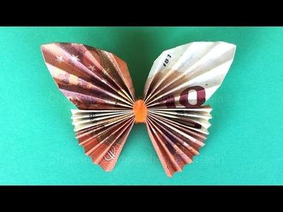 Geldschein falten Schmetterling - Einfache Geldgeschenke basteln - Origami Tiere mit Geld falten