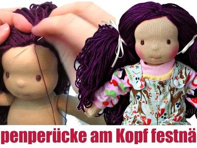 DIY | Puppenhaare am Puppenkopf festnähen (Mädchen) | Sami Doll Tutorials