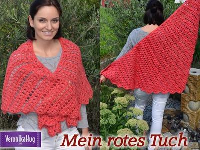 Häkeln - Rotes Tuch - Häkeltuch - Schultertuch - Woolly Hugs SHEEP - Veronika Hug