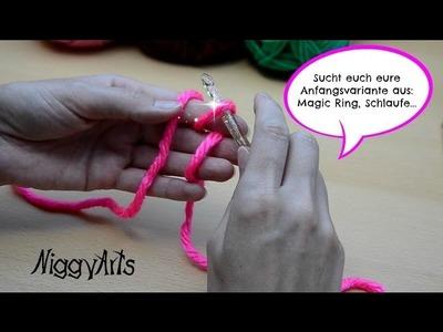 NiggyArts   Anfang häkeln mit mit Fadenring, Schlaufe, Magic Ring.     JPG