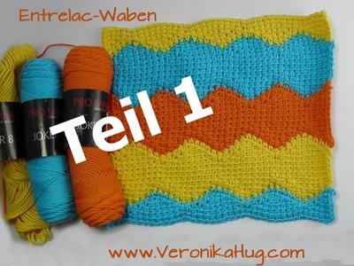 Häkeln - Entrelac-Waben in Reihen Teil 1 - Veronika Hug