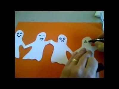 Basteln mit Kindern für Halloween. Gespenster-Girlande oder Geister-Girlande aus Papier