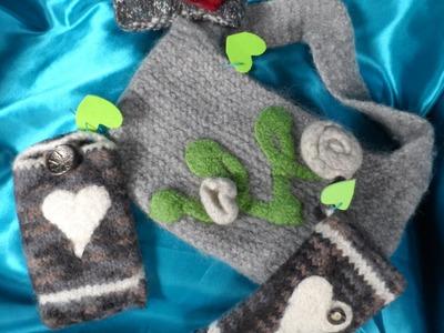 DIY:keka HANDY TASCHE,mit Herz stricken + häkeln und verfilzen -filzen(aus 100% FILZWOLLE ) Part 2.2