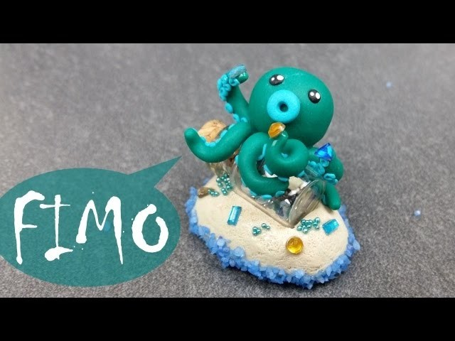 Oktopus auf Schatzinsel ~ Fimo. Polymerclay. Tutorial